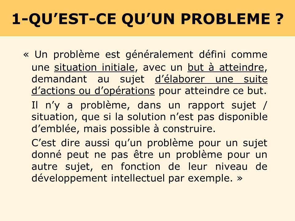 « Un problème est généralement défini comme une situation initiale, avec un but à atteindre, demandant au sujet délaborer une suite dactions ou dopéra