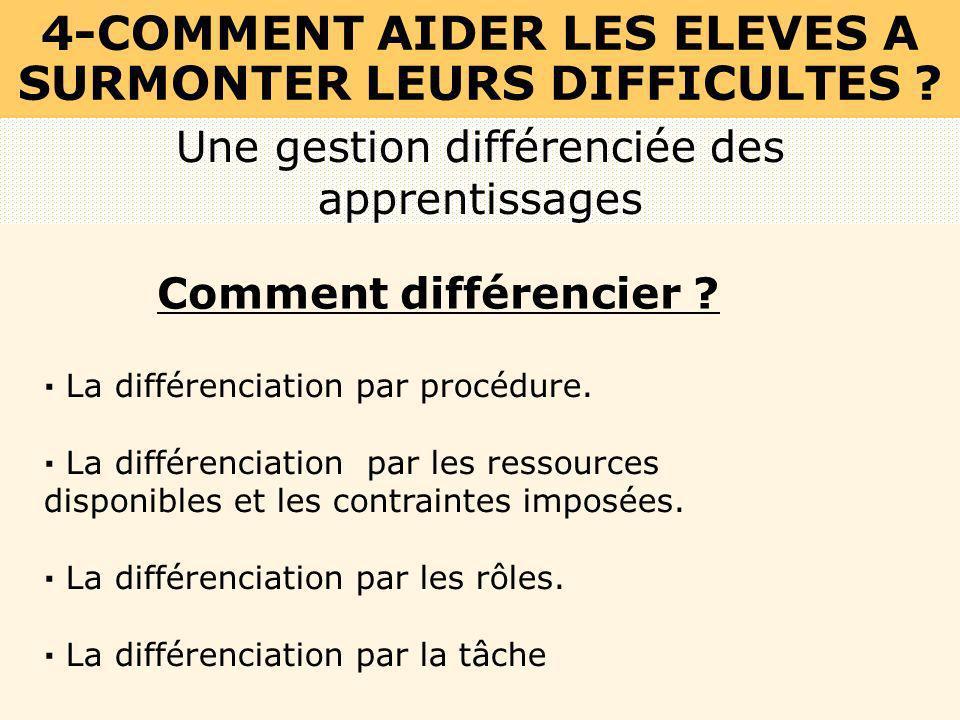 Une gestion différenciée des apprentissages 4-COMMENT AIDER LES ELEVES A SURMONTER LEURS DIFFICULTES ? Comment différencier ? · La différenciation par