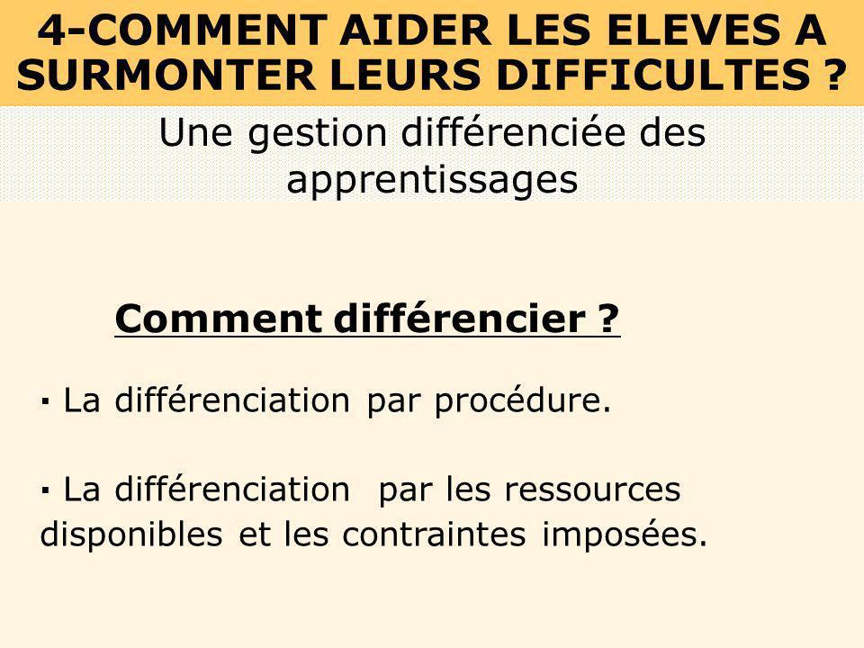 · La différenciation par procédure. · La différenciation par les ressources disponibles et les contraintes imposées. Une gestion différenciée des appr