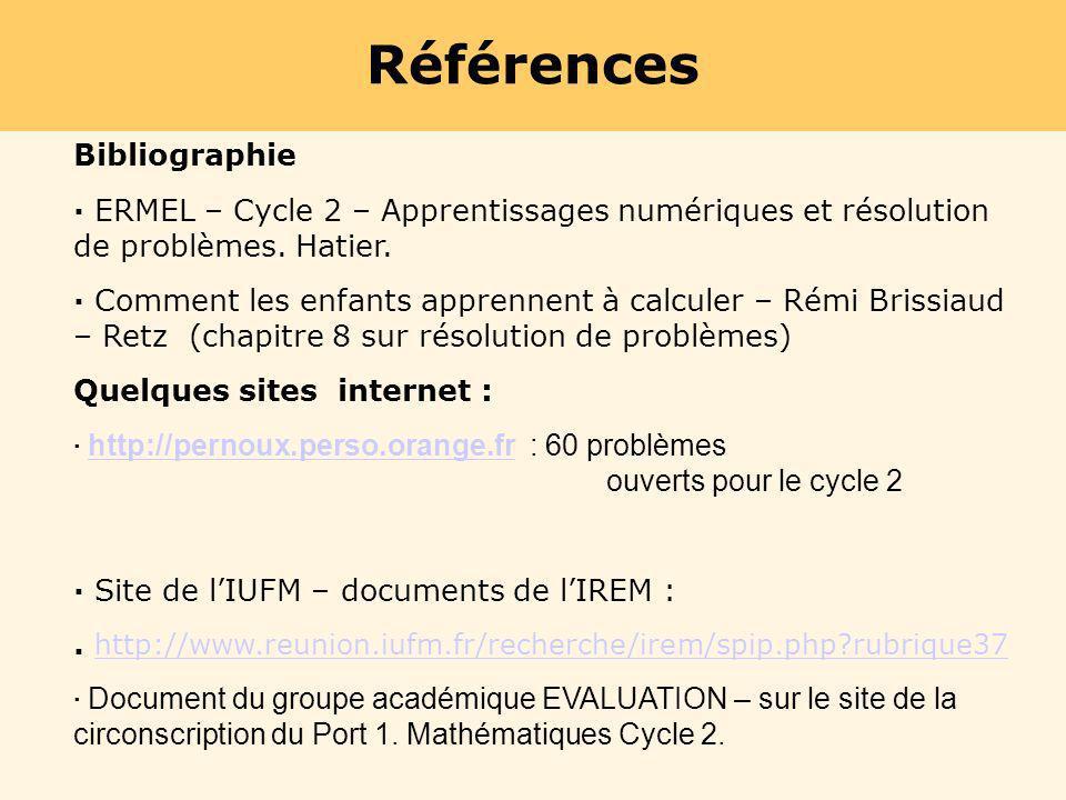 Références Bibliographie · ERMEL – Cycle 2 – Apprentissages numériques et résolution de problèmes. Hatier. · Comment les enfants apprennent à calculer