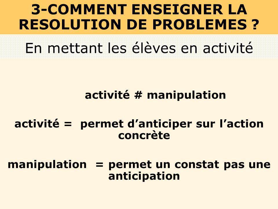 En mettant les élèves en activité activité # manipulation activité = permet danticiper sur laction concrète manipulation = permet un constat pas une a