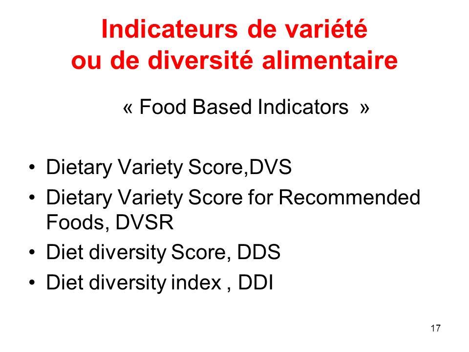 17 Indicateurs de variété ou de diversité alimentaire « Food Based Indicators » Dietary Variety Score,DVS Dietary Variety Score for Recommended Foods,