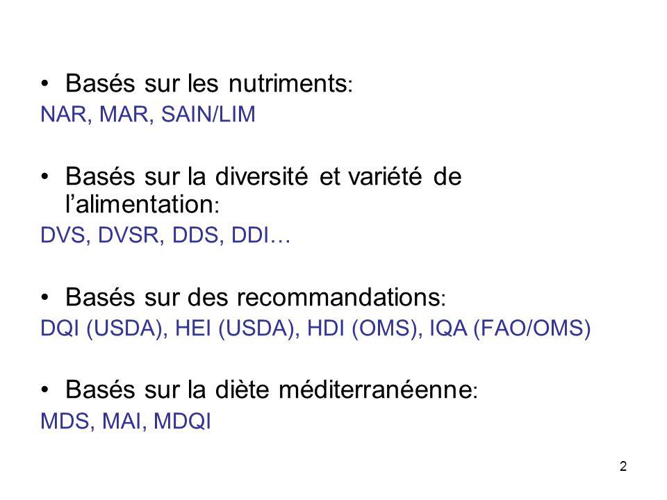 2 Basés sur les nutriments : NAR, MAR, SAIN/LIM Basés sur la diversité et variété de lalimentation : DVS, DVSR, DDS, DDI… Basés sur des recommandation