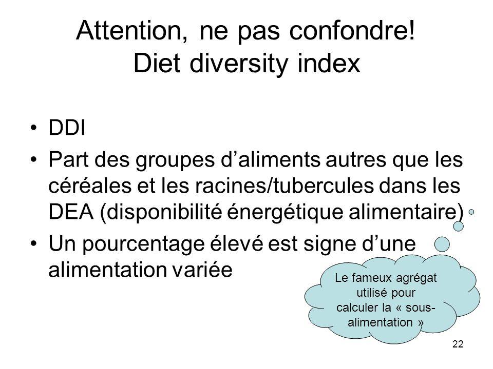22 Attention, ne pas confondre! Diet diversity index DDI Part des groupes daliments autres que les céréales et les racines/tubercules dans les DEA (di