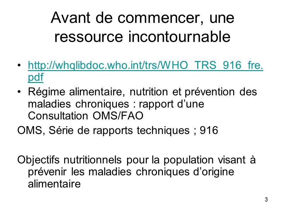 3 Avant de commencer, une ressource incontournable http://whqlibdoc.who.int/trs/WHO_TRS_916_fre. pdfhttp://whqlibdoc.who.int/trs/WHO_TRS_916_fre. pdf