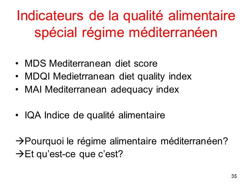 35 Indicateurs de la qualité alimentaire spécial régime méditerranéen MDS Mediterranean diet score MDQI Medietrranean diet quality index MAI Mediterra