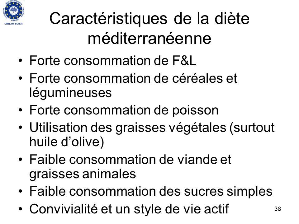 38 Caractéristiques de la diète méditerranéenne Forte consommation de F&L Forte consommation de céréales et légumineuses Forte consommation de poisson