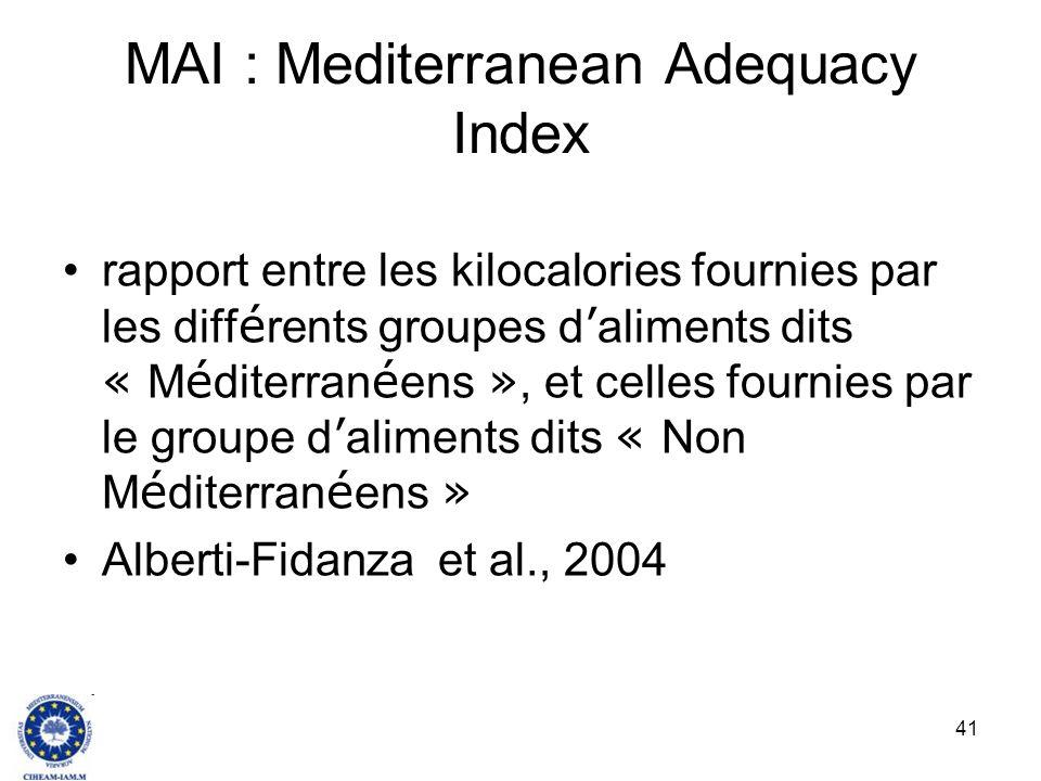41 MAI : Mediterranean Adequacy Index rapport entre les kilocalories fournies par les diff é rents groupes d aliments dits « M é diterran é ens », et