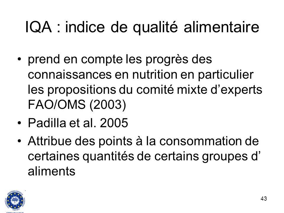 43 IQA : indice de qualité alimentaire prend en compte les progrès des connaissances en nutrition en particulier les propositions du comité mixte dexp