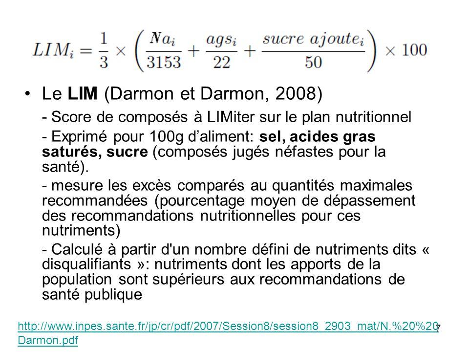 7 Le LIM (Darmon et Darmon, 2008) - Score de composés à LIMiter sur le plan nutritionnel - Exprimé pour 100g daliment: sel, acides gras saturés, sucre