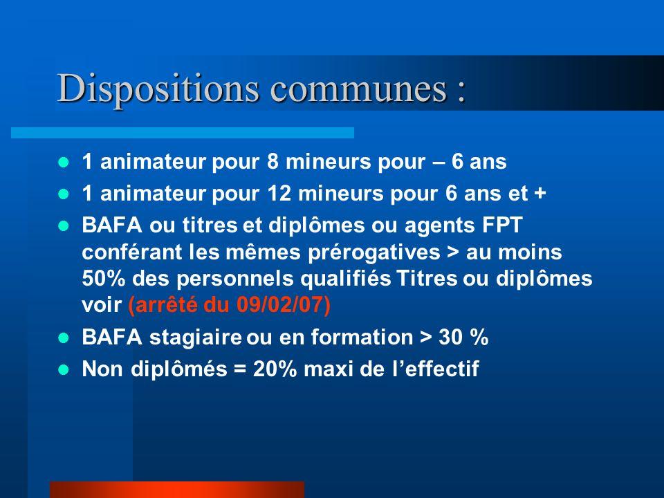 Dispositions communes : Qualifications du directeur : BAFD ou stagiaire, diplômes équivalents ou agents FPT Qualifications des animateurs: BAFA ou dip