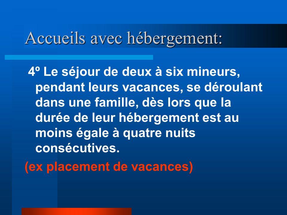 Accueils avec hébergement: 4º Le séjour de deux à six mineurs, pendant leurs vacances, se déroulant dans une famille, dès lors que la durée de leur hébergement est au moins égale à quatre nuits consécutives.