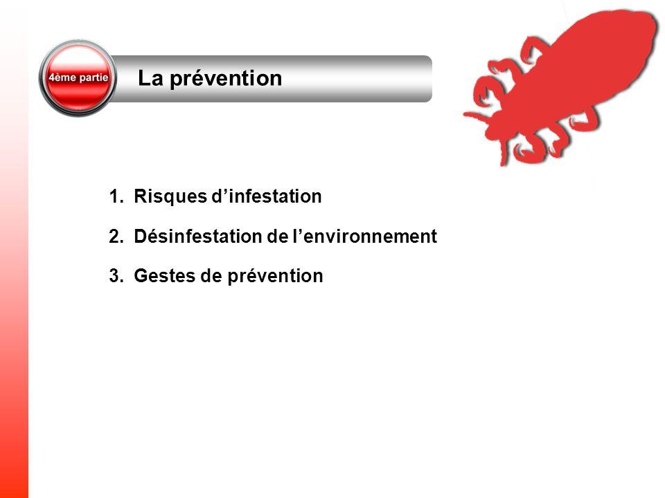 La prévention 1.Risques dinfestation 2.Désinfestation de lenvironnement 3.Gestes de prévention