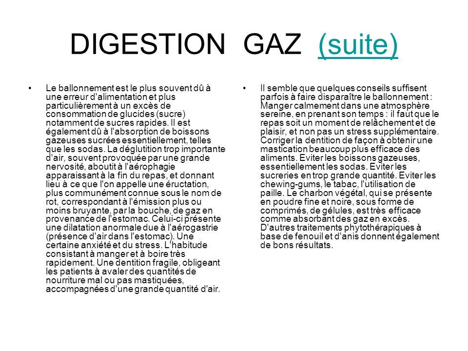 DIGESTION GAZ (suite)(suite) Le ballonnement est le plus souvent dû à une erreur d'alimentation et plus particulièrement à un excès de consommation de