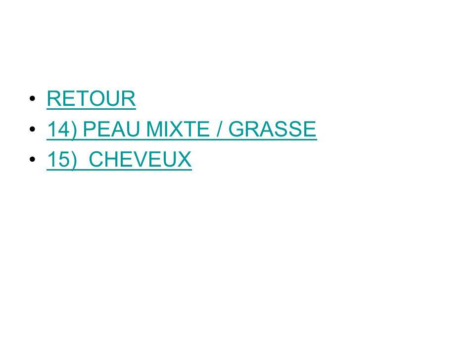 RETOUR 14) PEAU MIXTE / GRASSE 15) CHEVEUX