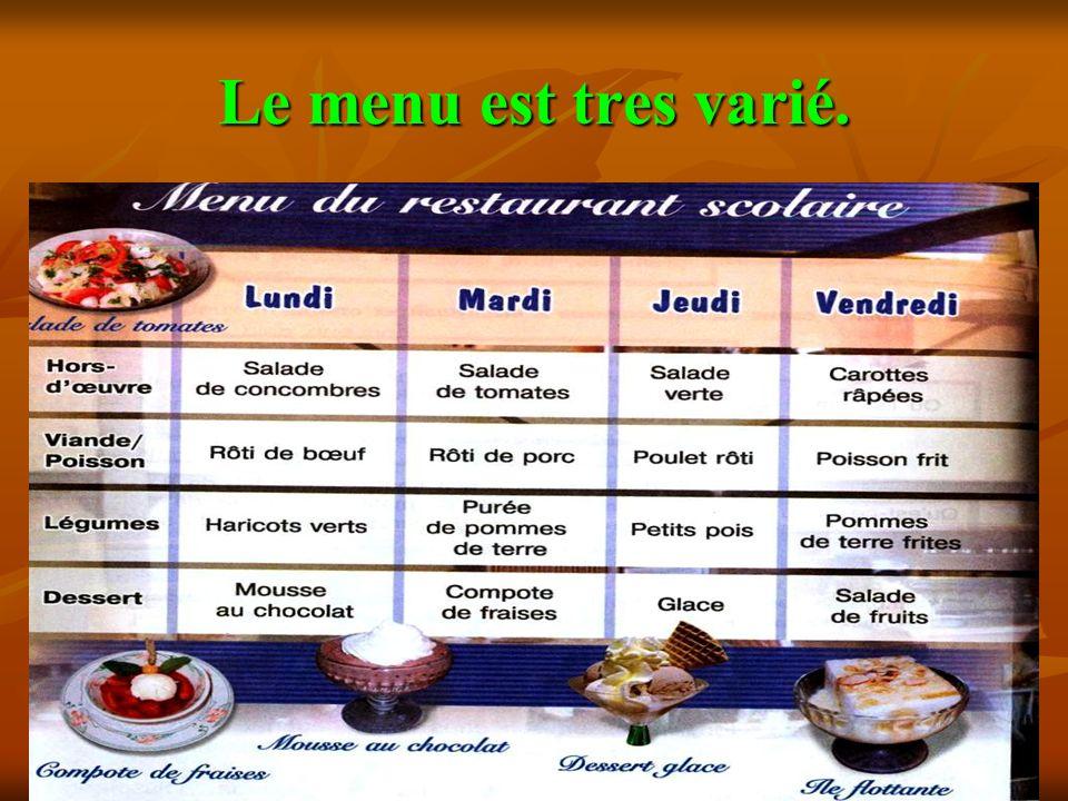 Le menu est tres varié.