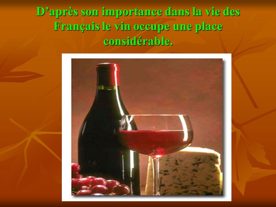 Daprès son importance dans la vie des Français le vin occupe une place considérable.