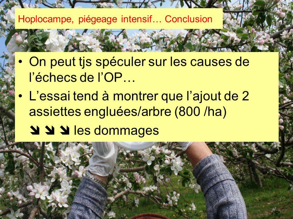 On peut tjs spéculer sur les causes de léchecs de lOP… Lessai tend à montrer que lajout de 2 assiettes engluées/arbre (800 /ha) les dommages Hoplocamp
