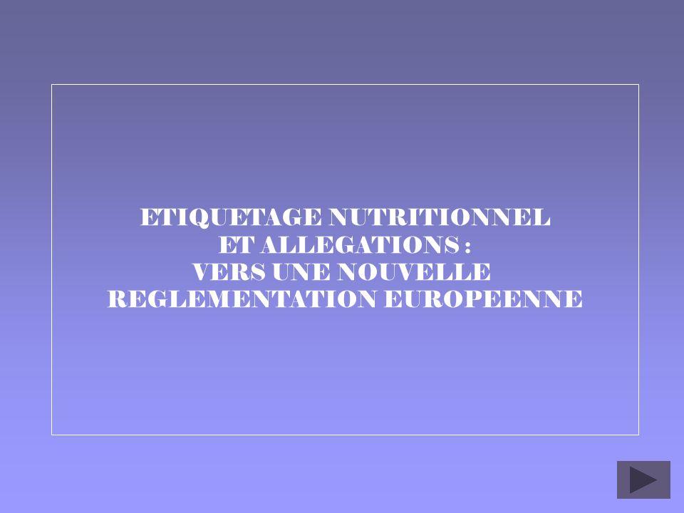1 ETIQUETAGE NUTRITIONNEL ET ALLEGATIONS : VERS UNE NOUVELLE REGLEMENTATION EUROPEENNE