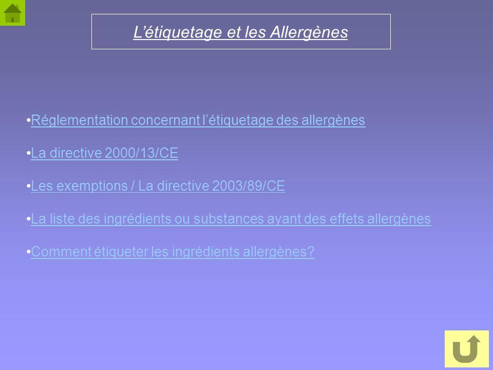 12 Létiquetage et les Allergènes Réglementation concernant létiquetage des allergènes La directive 2000/13/CE Les exemptions / La directive 2003/89/CE
