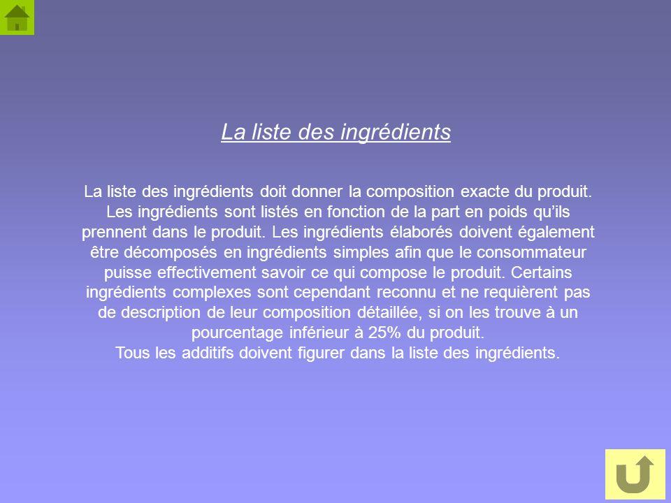 21 La liste des ingrédients La liste des ingrédients doit donner la composition exacte du produit. Les ingrédients sont listés en fonction de la part