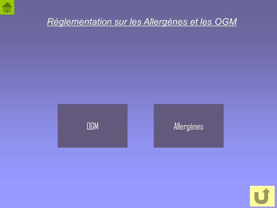 3 AllergènesOGM Règlementation sur les Allergènes et les OGM