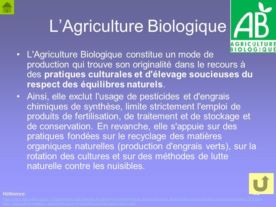 32 LAgriculture Biologique L'Agriculture Biologique constitue un mode de production qui trouve son originalité dans le recours à des pratiques cultura