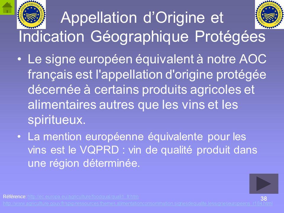 38 Appellation dOrigine et Indication Géographique Protégées Le signe européen équivalent à notre AOC français est l'appellation d'origine protégée dé