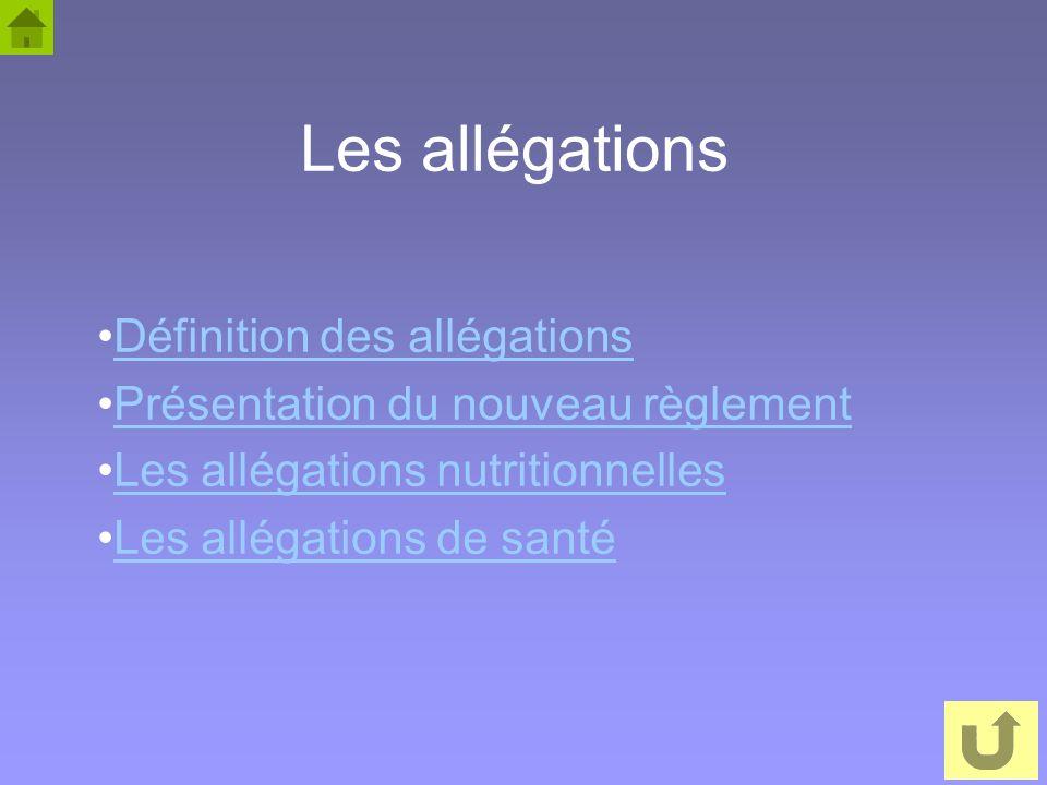 45 Les allégations Définition des allégations Présentation du nouveau règlement Les allégations nutritionnelles Les allégations de santé