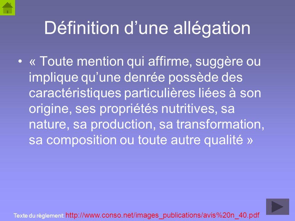 46 Définition dune allégation « Toute mention qui affirme, suggère ou implique quune denrée possède des caractéristiques particulières liées à son ori