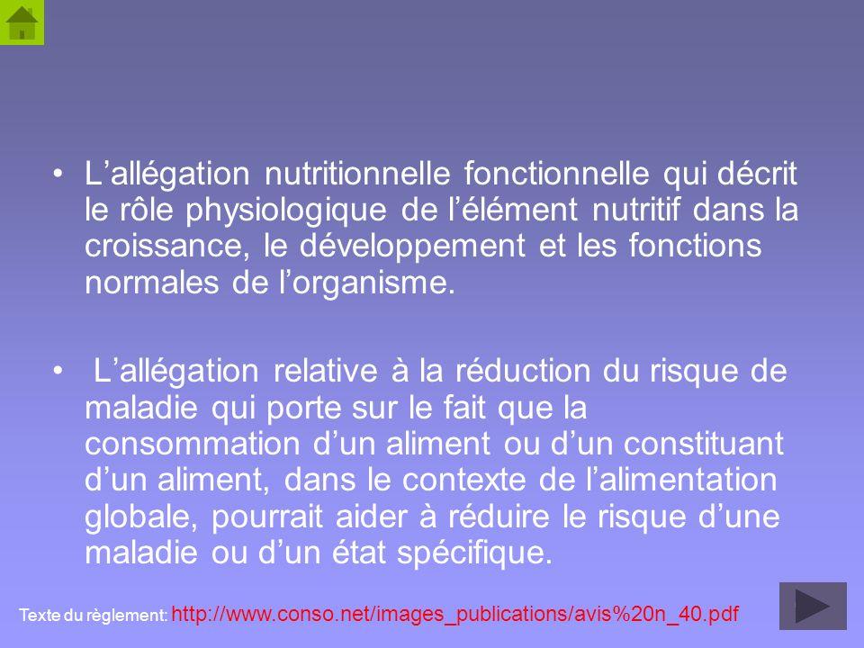 47 Lallégation nutritionnelle fonctionnelle qui décrit le rôle physiologique de lélément nutritif dans la croissance, le développement et les fonction