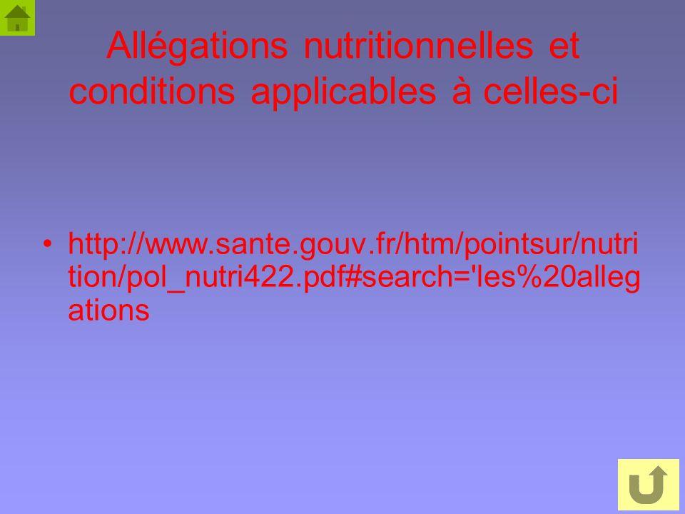 48 Allégations nutritionnelles et conditions applicables à celles-ci http://www.sante.gouv.fr/htm/pointsur/nutri tion/pol_nutri422.pdf#search='les%20a
