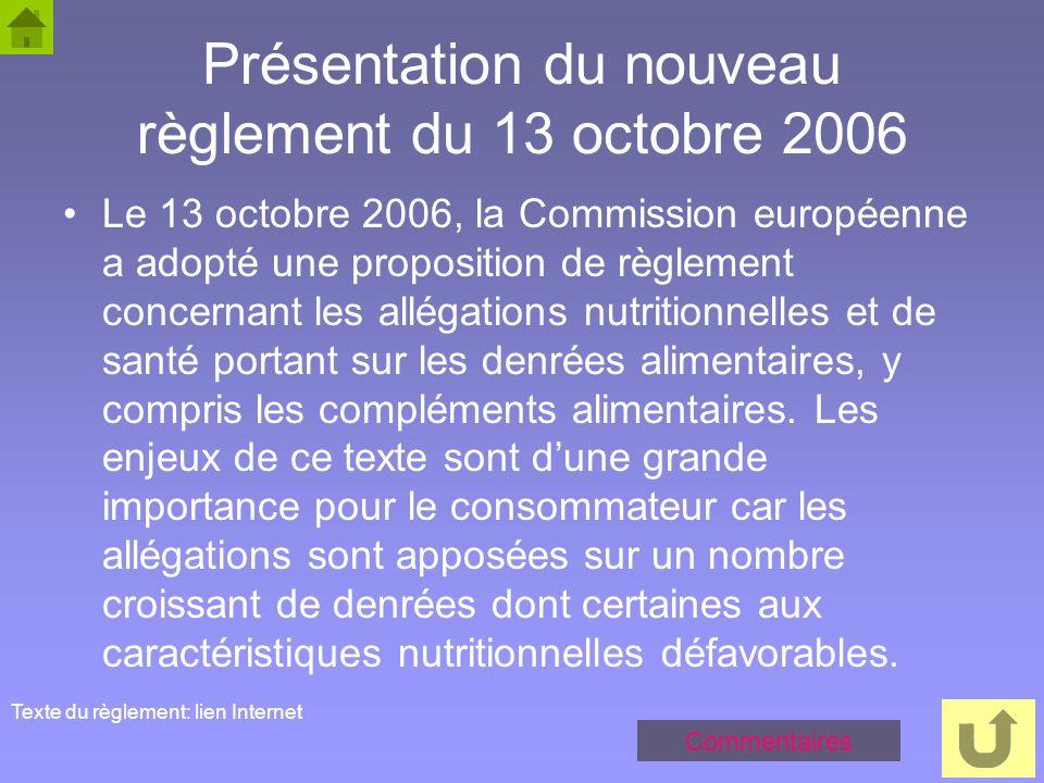 50 Présentation du nouveau règlement du 13 octobre 2006 Le 13 octobre 2006, la Commission européenne a adopté une proposition de règlement concernant