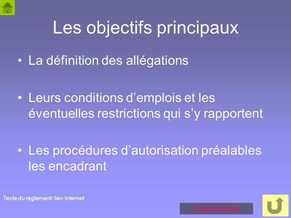 52 Les objectifs principaux La définition des allégations Leurs conditions demplois et les éventuelles restrictions qui sy rapportent Les procédures d