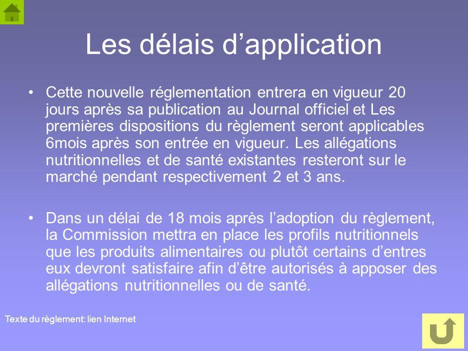 54 Les délais dapplication Cette nouvelle réglementation entrera en vigueur 20 jours après sa publication au Journal officiel et Les premières disposi