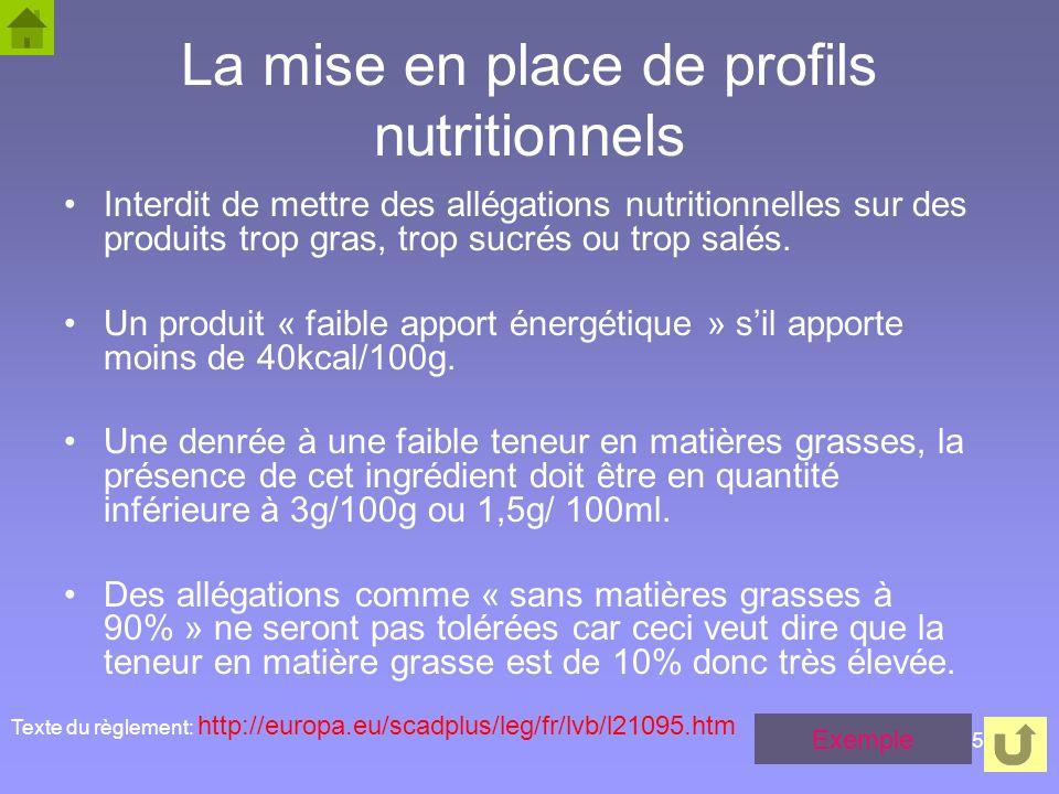 56 La mise en place de profils nutritionnels Interdit de mettre des allégations nutritionnelles sur des produits trop gras, trop sucrés ou trop salés.