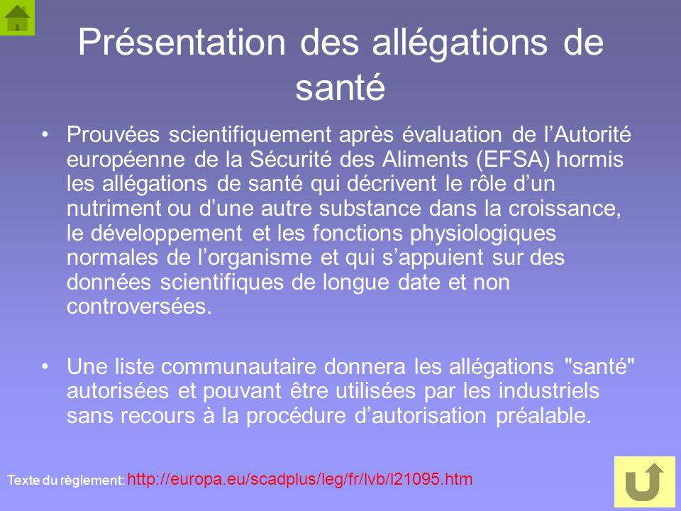 61 Présentation des allégations de santé Prouvées scientifiquement après évaluation de lAutorité européenne de la Sécurité des Aliments (EFSA) hormis