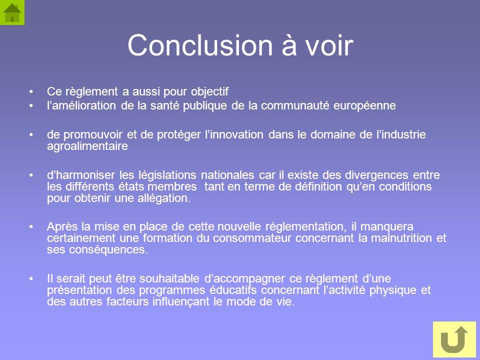 66 Conclusion à voir Ce règlement a aussi pour objectif lamélioration de la santé publique de la communauté européenne de promouvoir et de protéger li