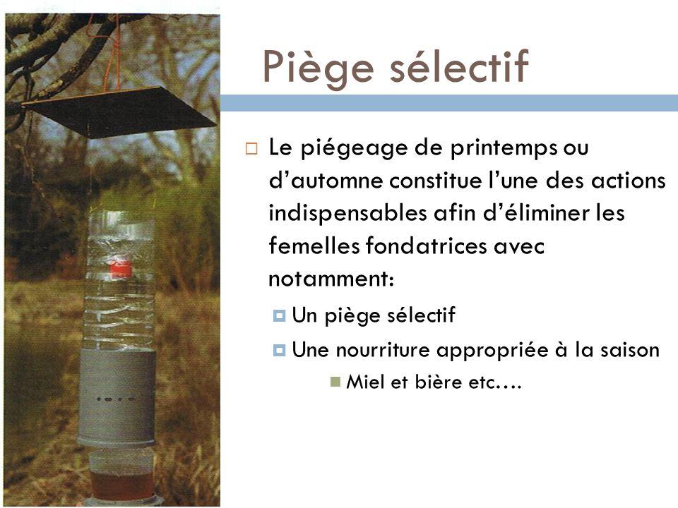 Piège sélectif Le piégeage de printemps ou dautomne constitue lune des actions indispensables afin déliminer les femelles fondatrices avec notamment: