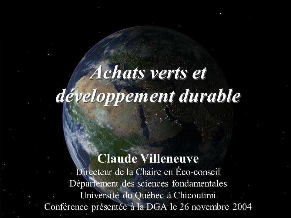 Claude Villeneuve Directeur de la Chaire en Éco-conseil Département des sciences fondamentales Université du Québec à Chicoutimi Conférence présentée