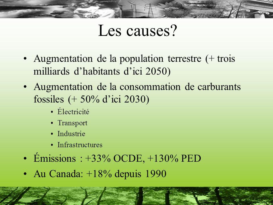 Les causes? Augmentation de la population terrestre (+ trois milliards dhabitants dici 2050) Augmentation de la consommation de carburants fossiles (+