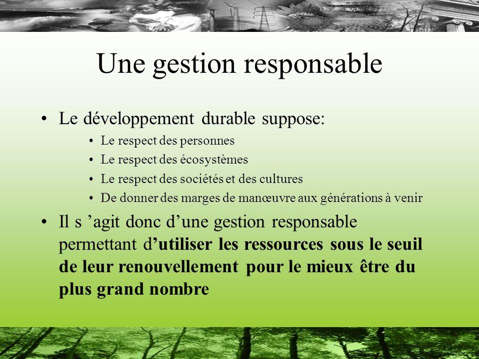 Une gestion responsable Le développement durable suppose: Le respect des personnes Le respect des écosystèmes Le respect des sociétés et des cultures