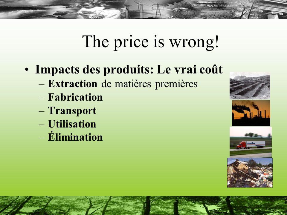 The price is wrong! Impacts des produits: Le vrai coût –Extraction de matières premières –Fabrication –Transport –Utilisation –Élimination