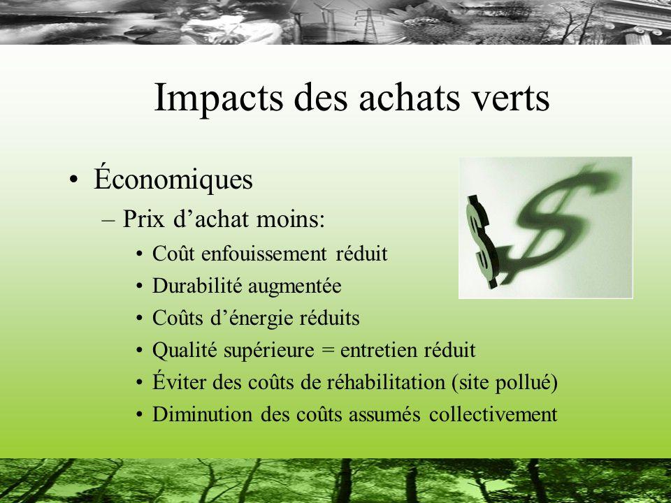 Impacts des achats verts Environnementaux: –Pollution minimisée Transport Enfouissement Énergie Émanations toxiques Émissions de GES –Conservation des ressources –Utilisation optimale des ressources rares