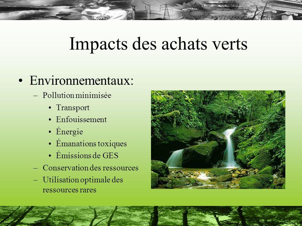Impacts des achats verts Environnementaux: –Pollution minimisée Transport Enfouissement Énergie Émanations toxiques Émissions de GES –Conservation des