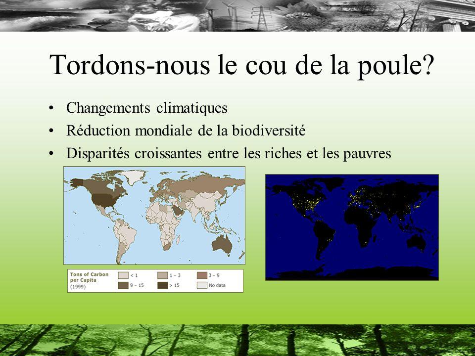 Tordons-nous le cou de la poule? Changements climatiques Réduction mondiale de la biodiversité Disparités croissantes entre les riches et les pauvres