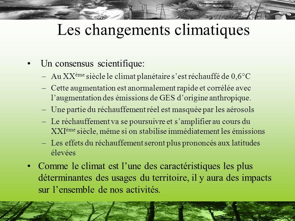 Les changements climatiques Un consensus scientifique: –Au XX ème siècle le climat planétaire sest réchauffé de 0,6°C –Cette augmentation est anormale