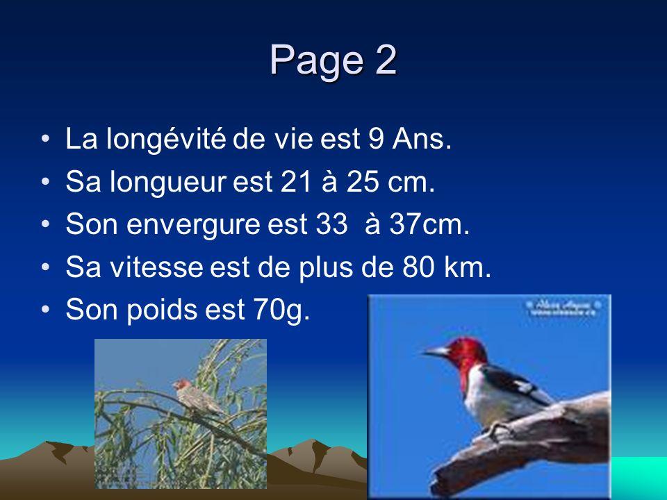 Page 2 La longévité de vie est 9 Ans. Sa longueur est 21 à 25 cm.