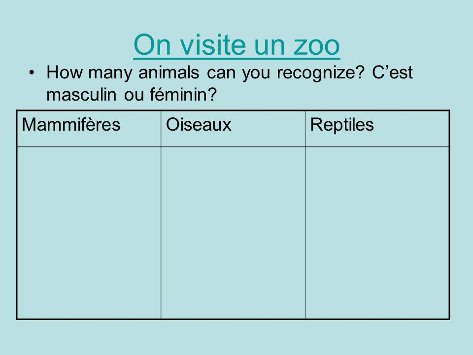 On visite un zoo How many animals can you recognize.