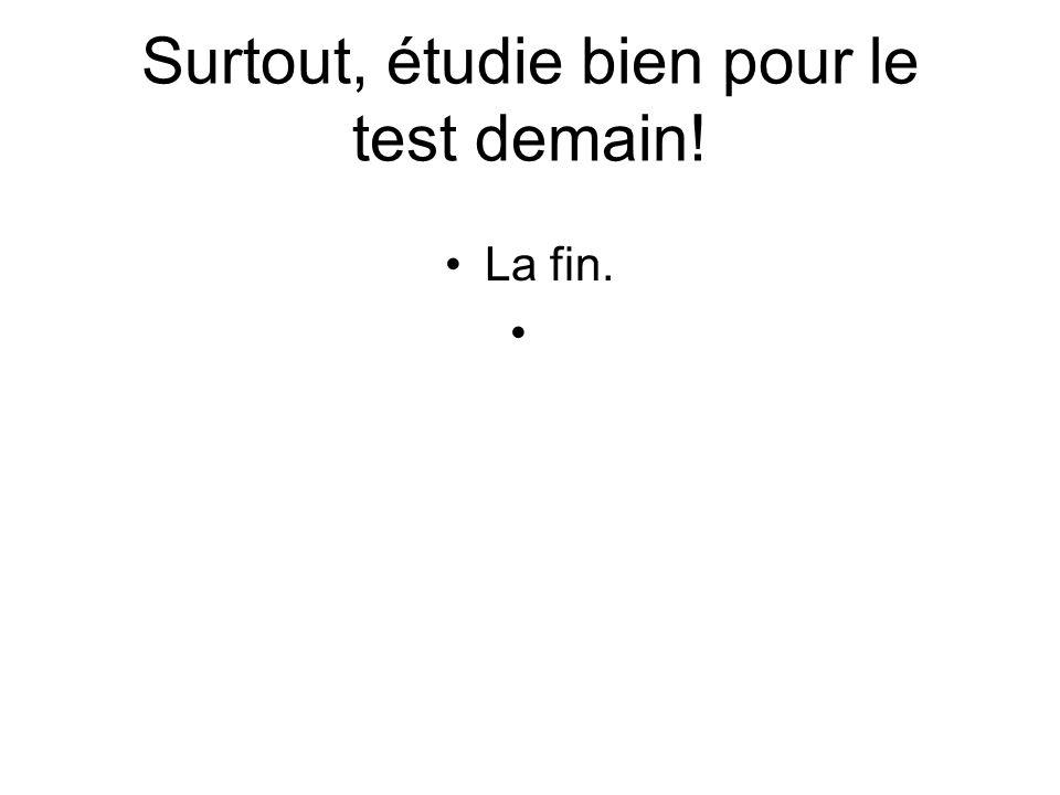 Surtout, étudie bien pour le test demain! La fin.